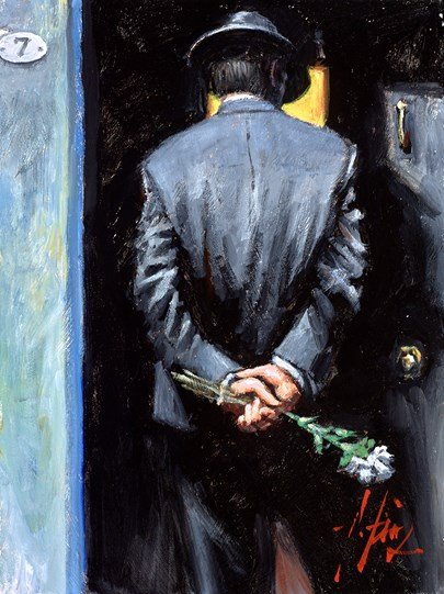 Surprise at Moonlight (Reversed) by Fabian Perez - Original Painting on Stretched Canvas
